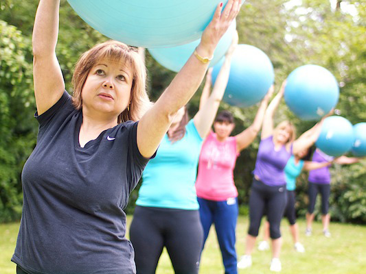 Swiss ball workout at The Body Retreat