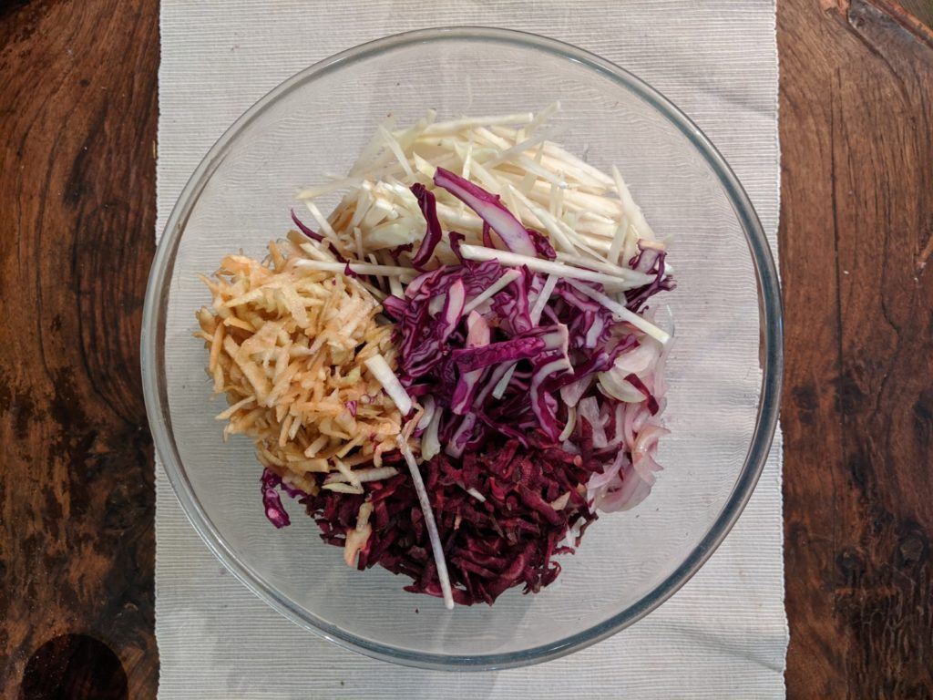 Chopped purple winter coleslaw vegtables